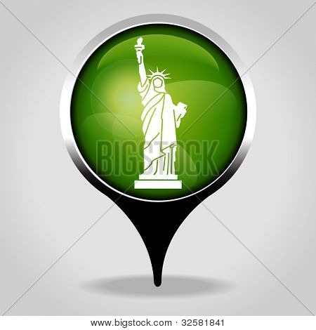Statue Liberty, Realistic interface button with the tourist sign. File is saved in AI10 EPS version. This illustration contains a transparency