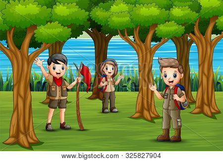Group Of Scout Are Exploring The Forest