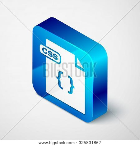 Isometric Css File Document. Download Css Button Icon Isolated On White Background. Css File Symbol.