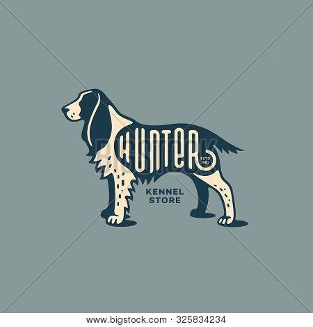 Lettering Hunter On Springer Spaniel For Logo, Label, Badge, Emblem Design. Vector Illustration.