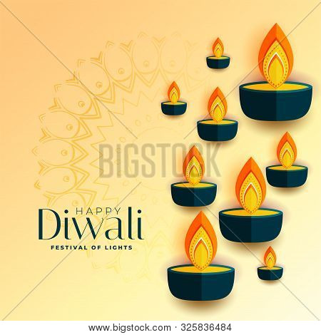 Happy Diwali Flat Style Diya Design Background