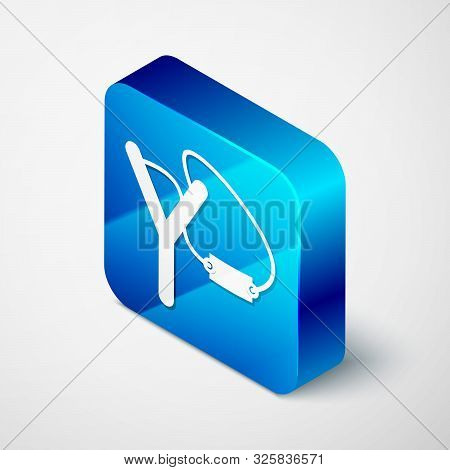 Isometric Slingshot Icon Isolated On White Background. Blue Square Button. Vector Illustration