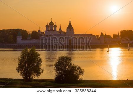 View Of The Old Ipatiev Monastery In September Sunset. Kostroma, Golden Ring Of Russia