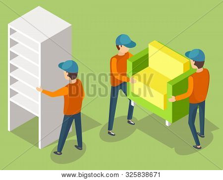 Delivery service workers in uniform moving cupboard and armchair. Porters carry furniture piece. Relocation and transportation vector illustration poster