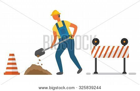 Man Character In Helmet And Shovel Digging Soil, Striped Cone And Barrier. Roadwork Element Decorati