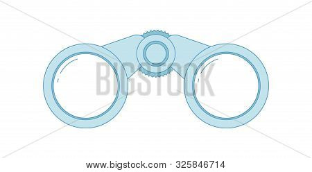 Binocular Flat Line Icon. Blue Colored Illustration. Explore And Adventures Binocular Symbol. Vector