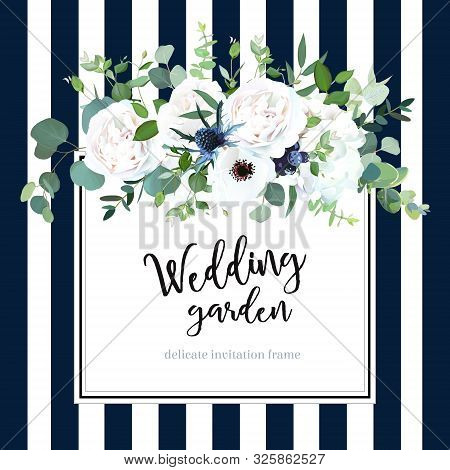 White Hydrangea, Anemone, Thistle, Black Berry, Rose Flowers On Navy Blue And White Striped Backgrou