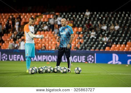 VALENCIA, SPAIN - OCTUBER 2: Jaume (L) during UEFA Champions League match between Valencia CF and AFC Ajax at Mestalla Stadium on Octuber 2, 2019 in Valencia, Spain