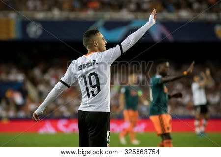 VALENCIA, SPAIN - OCTUBER 2: Rodrigo Moreno during UEFA Champions League match between Valencia CF and AFC Ajax at Mestalla Stadium on Octuber 2, 2019 in Valencia, Spain