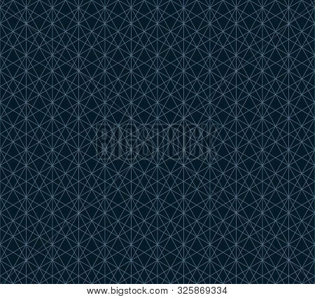 Subtle Lines Seamless Pattern. Vector Geometric Ornament Texture. Thin Blue Lines On Black Backgroun