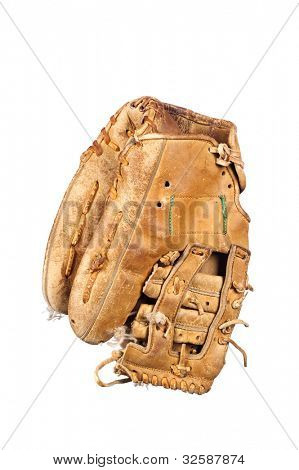 An old, rundown leather baseball glove with frayed laces and in a grungy condition isolated on white.
