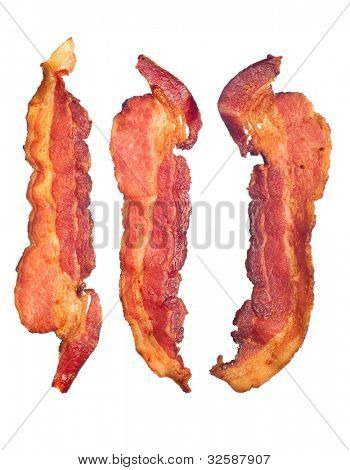 Three cooked, crispy fried bacon isolated on a white background.  Good for many health and cooking inferences.