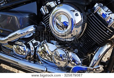 Umea, Sweden - August 24, 2019: Part Of A Motorcycle Engine, An American Classic With A Lot Of Chrom