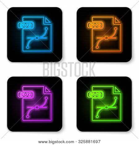 Glowing Neon Svg File Document. Download Svg Button Icon Isolated On White Background. Svg File Symb