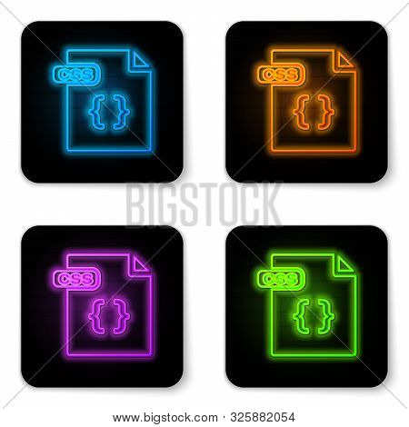 Glowing Neon Css File Document. Download Css Button Icon Isolated On White Background. Css File Symb