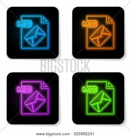 Glowing Neon Msg File Document. Download Msg Button Icon Isolated On White Background. Msg File Symb