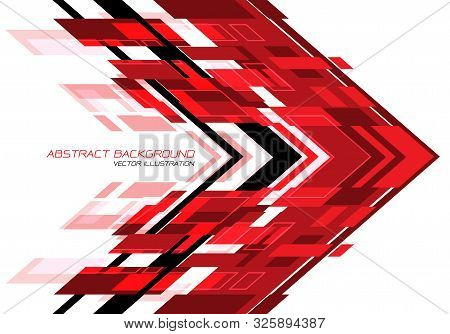 Abstract Red Black Arrow Geometric Direction On White Design Modern Futuristic Technology Background