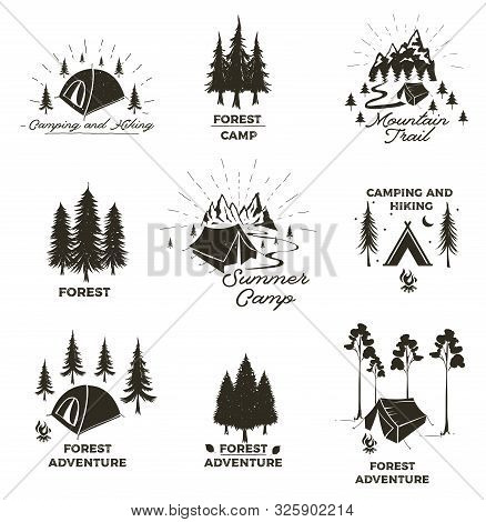 Set Of Vintage Camping And Outdoor Adventure Emblems, Logos And Badges. Camp Tent In Forest Or Mount