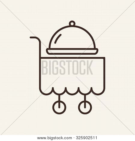 Trolley With Hotplate Line Icon. Dish, Delivery, Serving. Restaurant Business Concept. Vector Illust