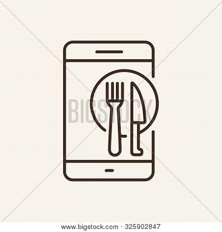 Mobile And Flatware Line Icon. Phone, Menu, Delivery. Restaurant Business Concept. Vector Illustrati