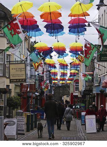 Caernarfon, Wales, June 11. Palace Street On June 11, 2019, In Caernarfon, Wales. A Street Full Of C