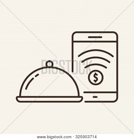 Hotplate And Phone Line Icon. Payment, Cover, Dish. Restaurant Business Concept. Vector Illustration