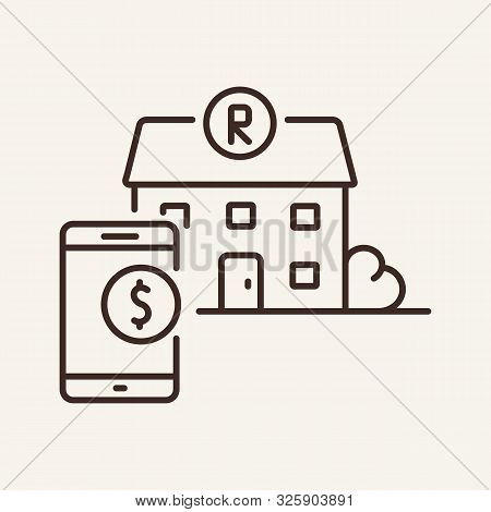 Restaurant And Phone Line Icon. Mobile, Dollar Sign, Building. Restaurant Business Concept. Vector I