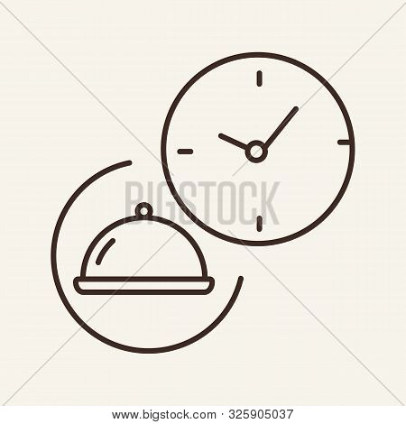 Hotplate And Clock Line Icon. Time, Waiting, Serving. Restaurant Business Concept. Vector Illustrati