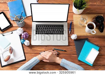 Woman Folded Hands On Wooden Office Desk. Professional Business Organization And Occupation. Flat La