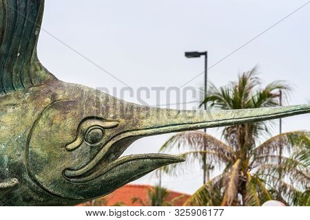 Si Racha, Thailand - March 16, 2019: Closeup Of Head Of Statues Of Bronze Swordfish In Koh Loy Park
