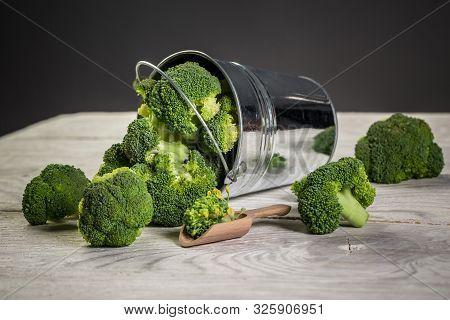Fresh Broccoli In The Bowl. Healthy Green Organic Raw Broccoli.