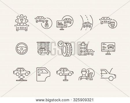 Automobile Service Line Icons. Set Of Line Icons. Car Shower, Diagnostic, Lift. Car Repair Concept.