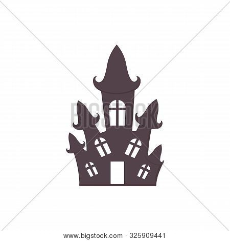 Cute Halloween Haunted House Icon. Printable Flat Style. Traditional Abandoned Witch Home, Halloween