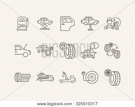 Car Fix Line Icons. Set Of Line Icons. Car Lift, Evacuator, Mechanic. Car Repair Concept. Vector Ill