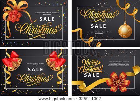 Christmas Sale Poster Set With Text Sample In Frame, Mistletoe, Bauble, Bell, Streamer, Bow On Black