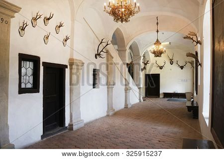 Casta, Slovakia - August 31, 2019: Interior Of Medieval Cerveny Kamen (red Stown) Castle. Hall With