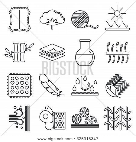 Fabric Feature Breathable Icons Set. Outline Set Of Fabric Feature Breathable Vector Icons For Web D