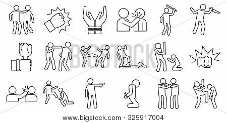 Violence Abuse Icons Set. Outline Set Of Violence Abuse Vector Icons For Web Design Isolated On Whit