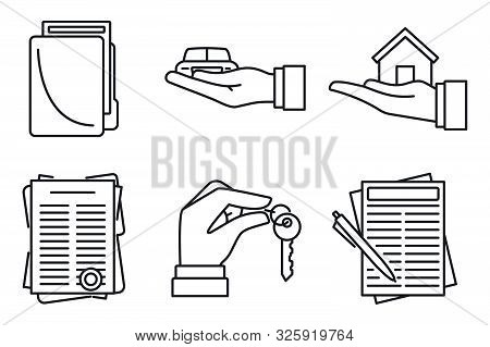 Lease Agreement Icons Set. Outline Set Of Lease Agreement Vector Icons For Web Design Isolated On Wh