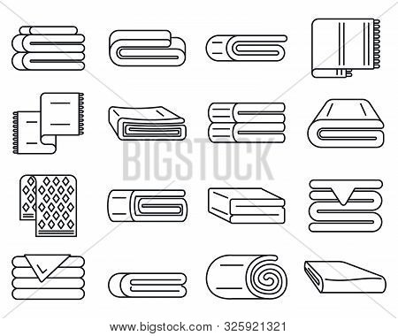 Blanket Cover Icons Set. Outline Set Of Blanket Cover Vector Icons For Web Design Isolated On White