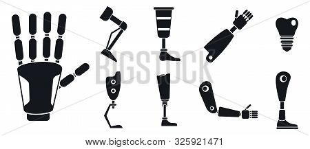 Artificial Limbs Prosthesis Icons Set. Simple Set Of Artificial Limbs Prosthesis Vector Icons For We