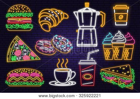 Retro Neon Burger, Cola, Croissant , Coffee And Fast Food Sign On Brick Wall Background. Design For