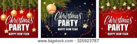 Christmas Party Announcement Poster Set. Golden Baubles, Hanging Stars, Streamer, Fir Tree, Sparkles