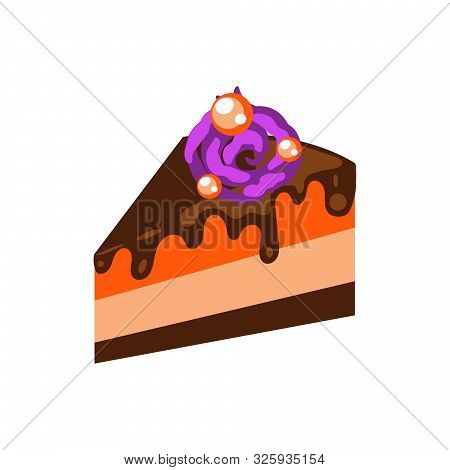Pumpkin Pie With Chocolate Topping Cartoon Vector Illustration. Slice Of Cake With Decoration On Top