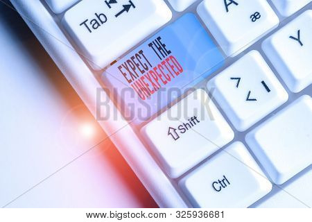 Writing note showing Expect The Unexpected. Business photo showcasing Anything can Happen Consider all Possible Events White pc keyboard with note paper above the white background. poster