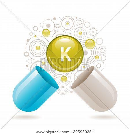 Mineral Vitamin Potassium Supplement For Health. Capsule K Element Icon, Healthy Diet Symbol. 3d Col