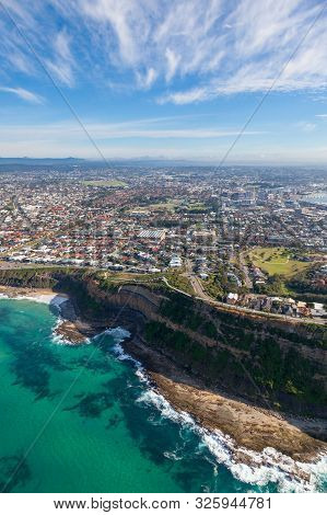 Aerial View Of Susan Gilmore Beach And The Suburb Of Cooks Hill And Bar Beach In Newcastle New South