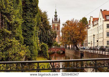 Gdansk Old Town. Autumn City Landscape. River.