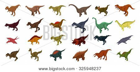 Dinosaur Icons Set. Isometric Set Of Dinosaur Vector Icons For Web Design Isolated On White Backgrou
