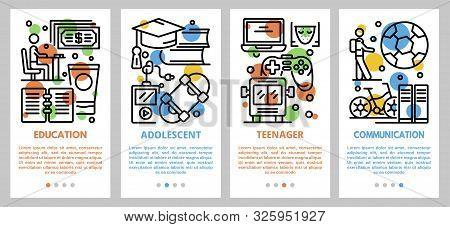 Adolescent Banner Set. Outline Set Of Adolescent Vector Banner For Web Design